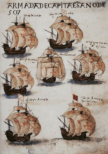 Armada Portuguesa, do livro O Sucesso dos Visoreis (ou Livro de Lisuarte de Abreu), de cerca de 1565.