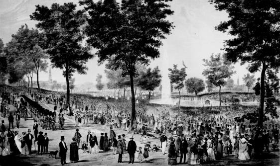 Boston Common no ano de 1848, em litogravura de P. Hyman e David Bigelow.