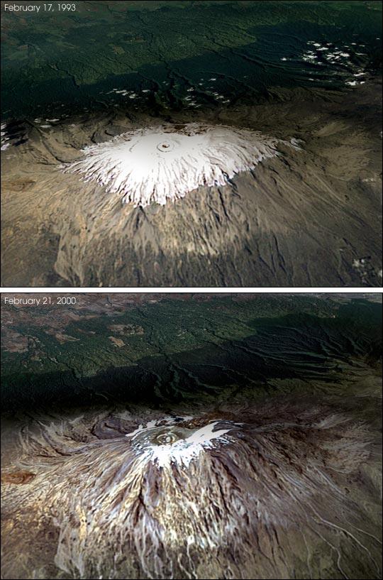 O Kilimanjaro visto em 1993 (na superior) e em 2000 (na inferior). A capa que o recobre diminuiu drasticamente como resultado do aquecimento global.