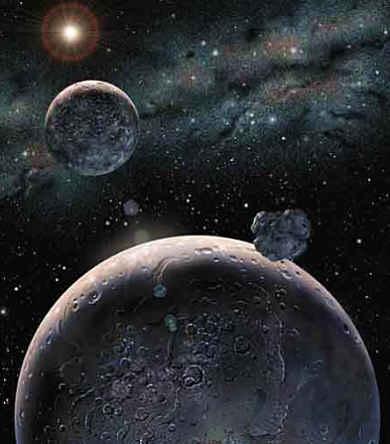 Uma concepção artística do pequeno Plutão e seus satélites.