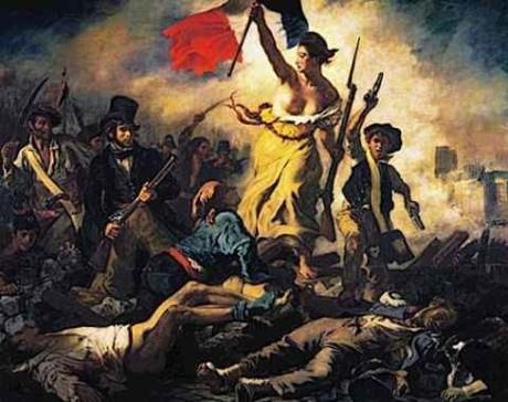 A Liberdade guiando o Povo (1830), de Eugène Delacroix, símbolo da Revolução Francesa.