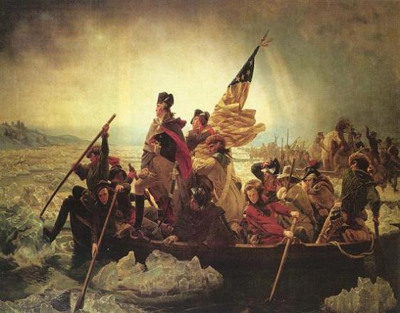 Washington atravessando o Rio Delaware (1851), de Emanuel Leutze, quandro alusivo à Guerra da Independência dos E.U.A..