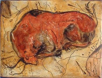 Bisão pintado, mas na Neo-Cueva, cópia perfeita da velha Cova de Altamira que encontra-se fechada ao público.