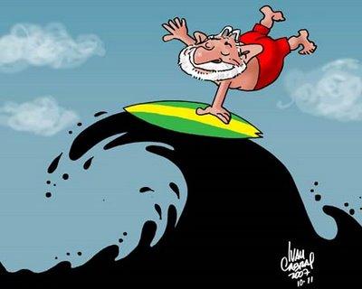 Lula surfando numa onda de petróleo.
