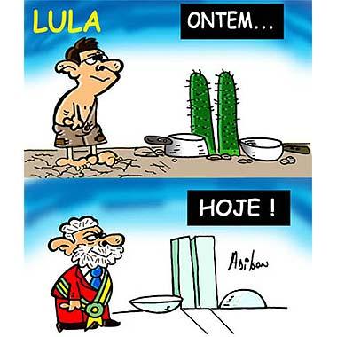 Lula ainda criança brincando e hoje em dia