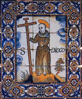 Representação de São Diogo em azulejos do século XVII, Casa Pia, Lisboa.